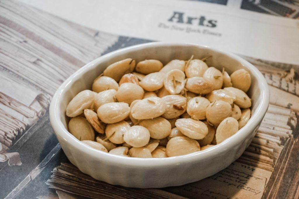 Marcona Almonds offered in the Plunkett Lounge on the lite bites menu.